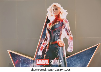Bangkok, Thailand - Jan 11, 2019:: A beautiful standee of a movie called Captain Marvel or Carol Danvers stars by Brie Larson displays showing at cinema