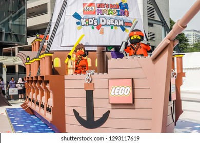 BANGKOK, THAILAND - JAN 11, 2019: One of the many lego set exhibits being showcased large Lego boat, Lego is a line of plastic construction toys that are manufactured by The Lego group
