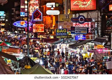 BANGKOK, THAILAND - JAN 12, 2018: Khaosan Road by night, a world famous backpacker district in Bangkok, Thailand