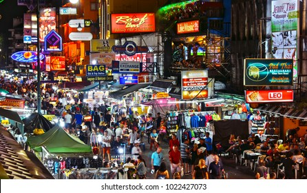 BANGKOK, THAILAND - JAN 12, 2018: Khaosan Road by night, a world famous backpacker district in Bangkok, Thailand
