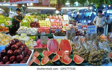 BANGKOK, THAILAND - JAN 12: Tropical thai fruits sell at Or Tor Kor market in Bangkok, Thailand on January 12, 2018. Or Tor Kor is one of the biggest food market in Bangkok.