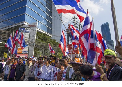 BANGKOK, THAILAND - JAN 14, 2014: Anti-government leaders and protesters at the Shinawatra Tower 3, Vipawadee road on Jan 14 to force the resignation of Prime Minister Yingluck Shinawatra.
