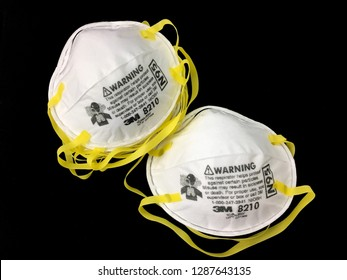 BANGKOK, THAILAND - Jan 14, 2019: N95 air filter mask (3M Tradmark) Personal Protective Equipment: PPE set for healthcare isolated on black background