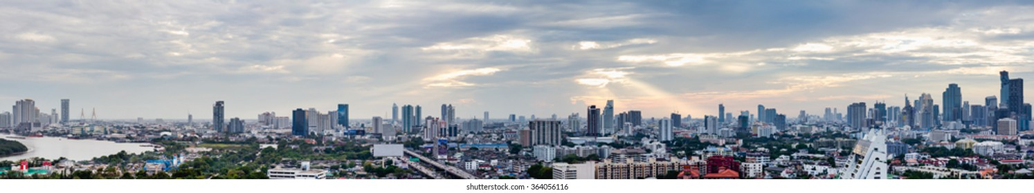Bangkok, Thailand - Jan 16, 2016 : Bangkok Skyline With City office building at sunset Bangkok, Thailand