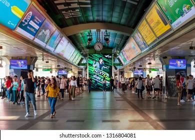 BANGKOK, THAILAND - JAN 16 : Siam BTS station on January 16, 2019 in Bangkok. BTS Skytrain or The Bangkok Mass Transit System is the most effective transportation in Bangkok.