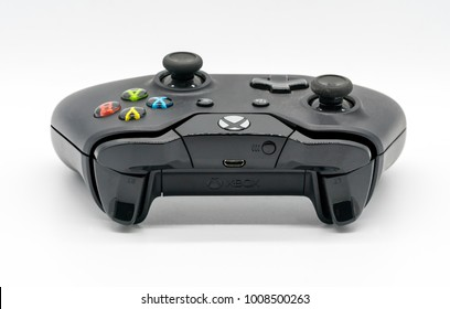 Bangkok, Thailand - Jan 18, 2018: The wireless gamepad for the Xbox One, a home video game console produced by Microsoft, isolated on white background.