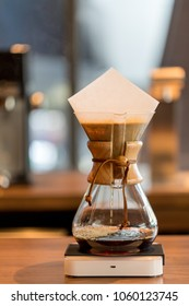 Bangkok, Thailand - Jan 18, 2018 : Brewing third wave coffee with chemex glass in the coffee shop. Chemex Coffeemaker is a manual, pour-over style glass-container coffeemaker