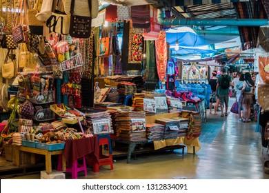 BANGKOK, THAILAND - JAN 2 : Tourists are shopping at Chatuchak Market on January 20, 2019 in Bangkok. Chatuchak Market is the largest weekend market in Thailand.