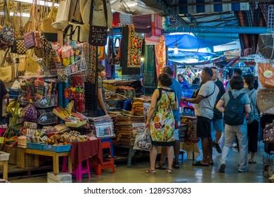 BANGKOK, THAILAND - JAN 20 : Tourist are shopping at Chatuchak Market on January 20, 2018 in Bangkok, Thailand. Chatuchak Market is the largest weekend market in Thailand.
