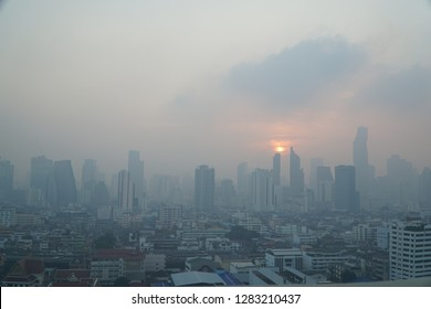 Bangkok, Thailand - Jan 2019 : Bangkok city covered by smog. City is facing one of the worst air pollution situation covered bydust size pm 2.5 which dangerously unhealthy for human being