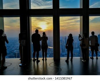BANGKOK, THAILAND -JAN, 2019 - Photos of Bangkok City line, The King Power Mahanakhon Skywalk.