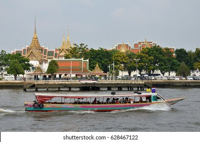 BANGKOK, THAILAND - JAN 21 2017: Ferry boat at Chao Phraya River, Chao Phraya River is a major river in Thailand