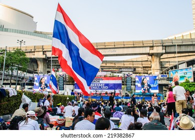 Bangkok, Thailand -?? Jan 22: Thai anti-government protesters rally at Pathumwan intersection on Jan 22, 2014 Bangkok, Thailand.