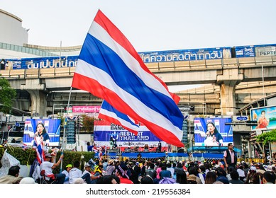Bangkok, Thailand - Jan 22: Thai anti-government protesters rally at Pathumwan intersection on Jan 22, 2014 Bangkok, Thailand.