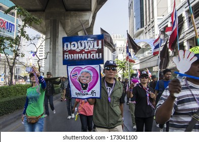 Bangkok, Thailand - Jan 24, 2014: Anti-government protesters at Phahonyothin road nearby the victory monument, during the rally for shut down the city and force the resignation of PM.