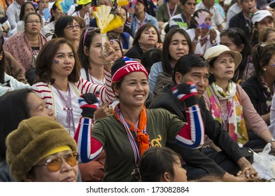 BANGKOK, THAILAND - JAN 24, 2014: Anti-government protesters at Phatumwan junction area, nearby the Siam Center and the MBK shopping mall, for shut down the city and force the resignation of PM.