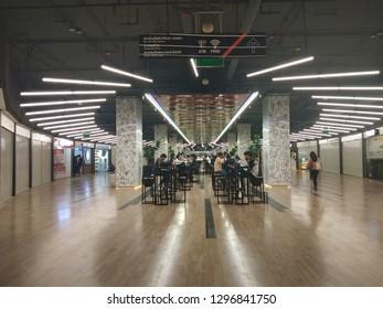 BANGKOK, THAILAND - JAN 25, 2019: Walking way inside MRT subway train arrived in shadow picture in Bangkok Thailand.