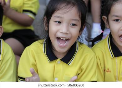 BANGKOK, Thailand - Jan 26, 2017: Bangkok. Movement education teaching kindergarten. Students are joyful in Pieamsuwan school.