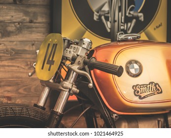 BANGKOK, THAILAND, JAN 31, 2018: Standard BMW R 51-3 motorcycle 1951. custom bike in the form of cafe racer . Vintage Filter With the motorcycle mood.