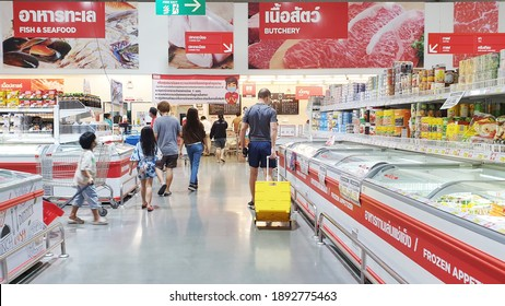 BANGKOK, THAILAND - JAN 4: Food products display at Makro supermarket in Bangkok on January 4, 2021. Makro is an originally wholesale center in Thailand, also called cash and carries.