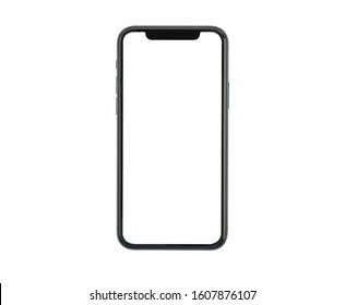 Bangkok, Thailand - Jan 5, 2020: Studio shot of Smartphone iPhone 11 Pro with blank white screen for Infographic Global Business web site design app, model iPhone 10 or iPhone xs Max.
