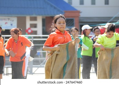 BANGKOK, THAILAND - Jan 9, 2015 : students tug of war competition. Competition in Primary School.