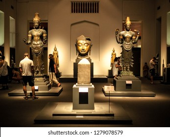 Bangkok, Thailand - Jan 9, 2019: the largest collection of Thai art and artifacts in the National Museum in Bangkok,Thailand