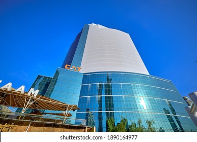 BANGKOK, THAILAND - JAN 9, 2021: Telecommunications Building (CAT Tower), is office building is owned and operated by the CAT Telecom Public Company Limited.
