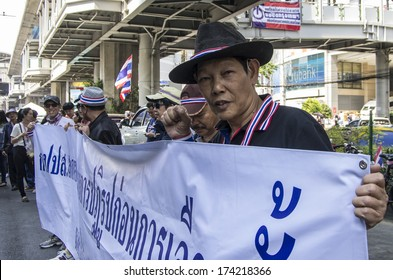 Bangkok, Thailand - Jan30, 2014: Anti-government protesters march along Sukhumvit road from On Nut to Pathumwan under the campaign for national reform before the election.