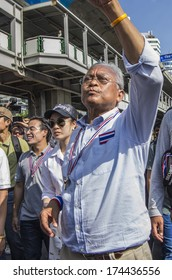 Bangkok, Thailand - Jan30, 2014: Suthep Thaugsuban, leading the march along Sukhumvit road from On Nut to Pathumwan junction under the campaign for reform before election.