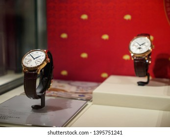 BANGKOK, THAILAND - JANAUARY 20, 2019: Closeup detail of the A. Lange and Sohne 1815 Up/Down gold watch on display at a Siam Paragon authorized dealer. Travel and shopping.