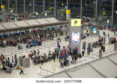 BANGKOK, THAILAND - JANUARY 04, 2019: View of the hall for registration of passengers at Suvarnabhumi airport