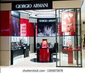 BANGKOK, THAILAND - JANUARY 08, 2019: Giorgio Armani Boutique Showcase