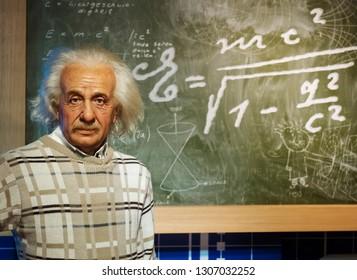 BANGKOK, THAILAND - JANUARY 08, 2019: Albert Einstein wax figure at Madame Tussauds Museum.