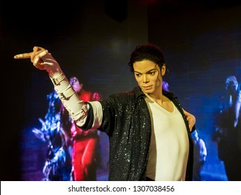 BANGKOK, THAILAND - JANUARY 08, 2019: Michael Jackson wax figure at Madame Tussauds Museum.
