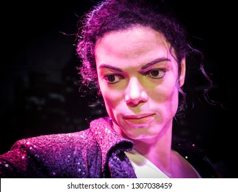 BANGKOK, THAILAND - JANUARY 08, 2019: Michael Jackson wax figure at Madame Tussauds Museum.