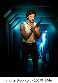 BANGKOK, THAILAND - JANUARY 08, 2019: Hugh Jackman as Wolverine wax figure at Madame Tussauds Museum.