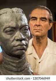 BANGKOK, THAILAND - JANUARY 08, 2019: Thai sculptor Silpa Bhirasri  is a wax figure at Madame Tussauds Museum.