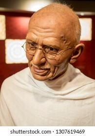 BANGKOK, THAILAND - JANUARY 08, 2019: Mahatma Gandhi wax figure, Madame Tussaud Museum