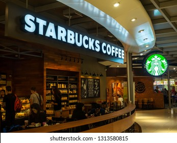 BANGKOK, THAILAND - JANUARY 08, 2019: Starbucks Cafe at Suvarnabhumi Airport