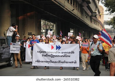 Bangkok, Thailand - January 1, 2014: White Collar Group gather together to protest against the government and promote campaign of reforming the country before election.