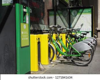 BANGKOK, THAILAND - JANUARY 1, 2019: Bicycle Sharing System Pun Pun available at designated stations on January 1, 2019 in Bangkok, Thailand.