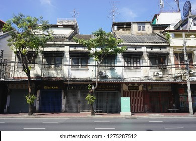 Bangkok, Thailand - January 1, 2019 : View of buildings in old town area of Yaowarat-Chinatown Bangkok, Thailand on the new year 2019 first day.