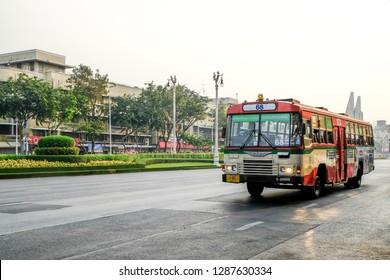 Bangkok, Thailand - january 1, 2019 : Public buses in Chinatown Yaowarat Bangkok.