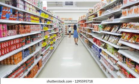 Bangkok, Thailand - January 1, 2019 : Aisle view of a Tesco Lotus supermarket.  Tesco lotus supermarket is a famous supermarket in Thailand