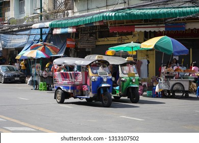 Bangkok, Thailand - January 1, 2019 : Thai local taxi 'Tuk Tuk' wait for passengers in Yaowarat-Chinatown Bangkok, Thailand