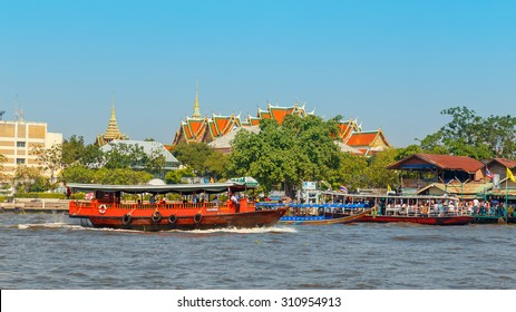 BANGKOK, THAILAND - JANUARY 1: Commuter Boat in Bangkok, Thailand on January 1, 2015. A great way to get around the famous Riverside area with its many historical attractions, temples and architecture