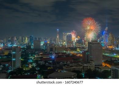 BANGKOK THAILAND - JANUARY 1 : HAPPY NEW YEAR 2020, New year celebrations taking place at Central World Plaza Countdown 2020, central of Bangkok, On January 1,2020 in Bangkok, Thailand