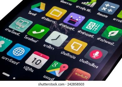 Bangkok Thailand -  January 10, 2015: Thai application icons on smart phone screen