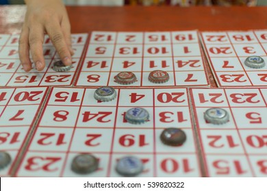 Bangkok, Thailand - January 10, 2016 : A bingo games is a popular games in a temple festival at Bangkok Thailand.